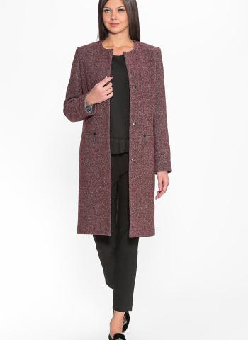 Пальто из твида бордовое